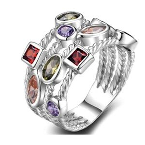 18K PLATINUM PLATED CANDY COLORED CZ DIAMOND RING